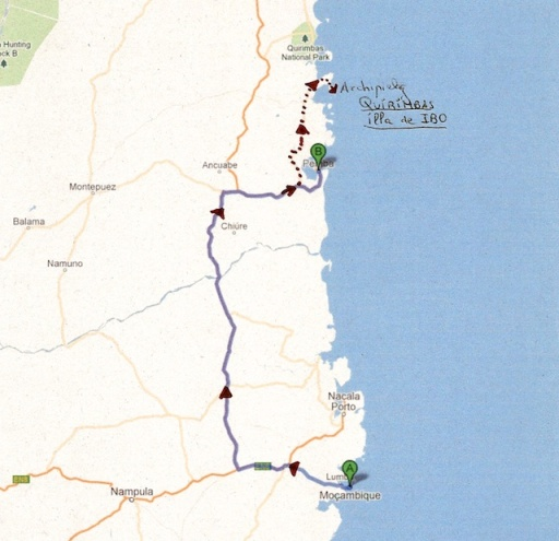 Ruta de ilha Moçambic a illa d'IBO 1