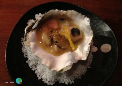 ostra a la graella amb sake