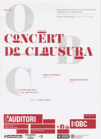 L'Auditori 2013 - Concert de Clausura - cartell