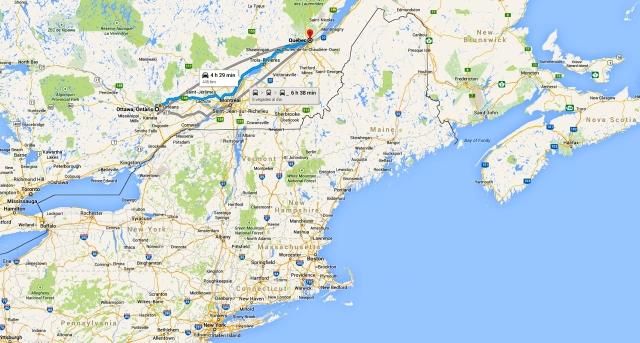 Mapa de Otawa a Quebec - juliol 2014
