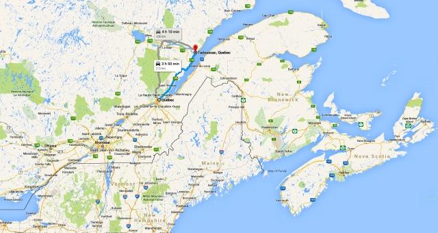 Mapa de Quebec a Tadoussac - Agost 2014