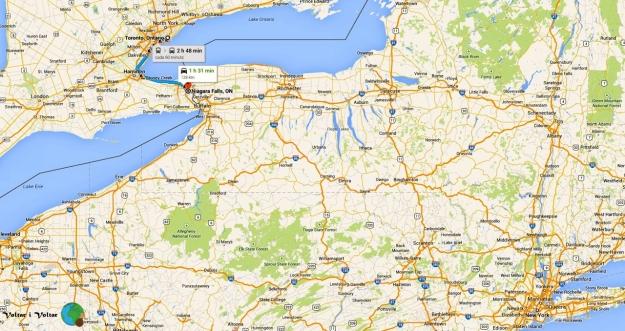 mapa de Toronto a Niàgara Falls-imp
