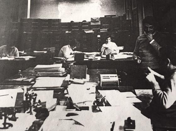 Any 1967 - Banco Vitalicio de España. El de la melena del centre es en Miquel als 15 anys